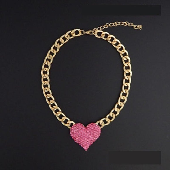 GOLD NECKLACE PINK RHINESTONES HEART PENDANT ( 9091 GDPNK )