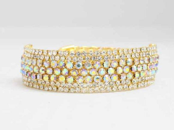 GOLD CUFF BANGLE CLEAR AB STONES ( 8658 )