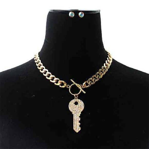 Gold Toggle Necklace AB STONES Crystal Key ( 7050 GDACL )