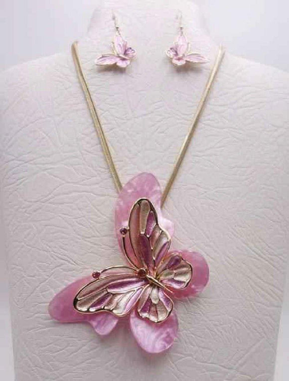 GOLD PINK MULTI COLOR BUTTERFLY NECKLACE SET ( 3680 GPK ) - Ohmyjewelry.com