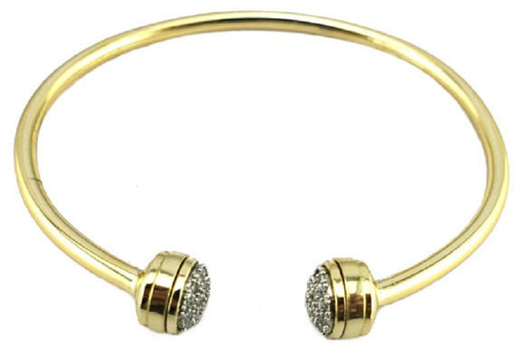 GOLD CUFF BANGLE CLEAR CZ CUBIC ZIRCONIA STONES ( 4296 BKPV )
