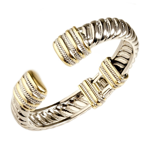 SILVER GOLD CUFF BANGLE ( 5772 BK )