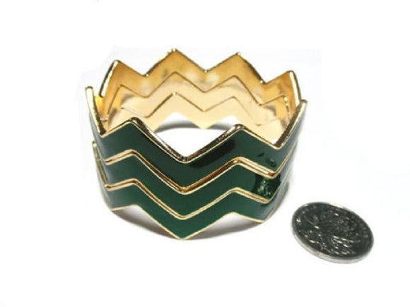 Set of 3 Layer Green with Gold Trim Chevron Bangles ( 1425 )
