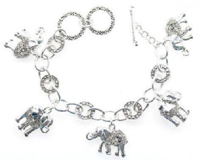 Double Sided Filigree Elephant Charm Toggle Bracelet