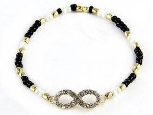 BLACK GOLD WHITE STRETCH BRACELET INFINITY DESIGN ( 6555 )