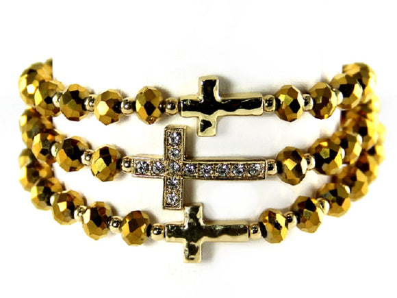 3 LAYER TOPAZ BEAD STRETCH BRACELET WITH CROSSES ( 6603 )