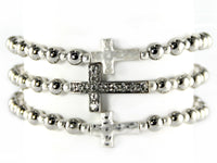 3 LAYER SILVER BEAD STRETCH BRACELET WITH CROSSES ( 6603 )