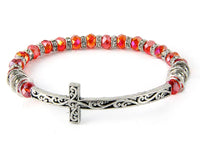 SILVER AND RED CRYSTAL CROSS STRETCH BRACELET ( 7141 )