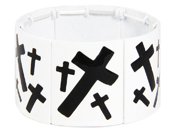 WHITE AND BLACK STRETCH BRACELET WITH CROSSES ( 7331 )
