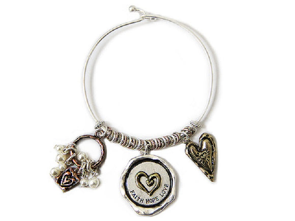 SILVER MULTI COLOR BANGLE WITH DANGLING HEART FAITH HOPE CHARMS ( 7668 )