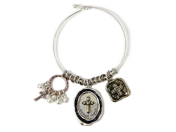 SILVER MULTI COLOR BANGLE WITH DANGLING CROSS SERENITY PRAYER CHARMS ( 7669 )
