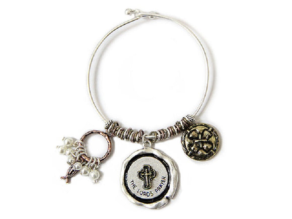 SILVER MULTI COLOR BANGLE WITH DANGLING CROSS LORDS PRAYER CHARMS ( 7670 )