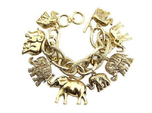 Chunky Gold Elephant Charm Double Linked Toggle Bracelet ( 8410 AG )