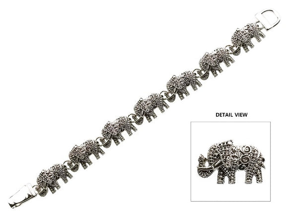 Silver Textured Elephant Magnetic Bracelet ( 9038 AS )