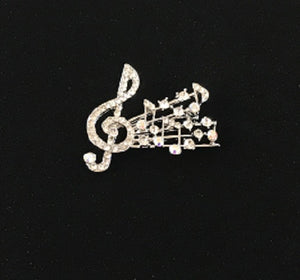 Clear and AB Rhinestone Music Note Brooch