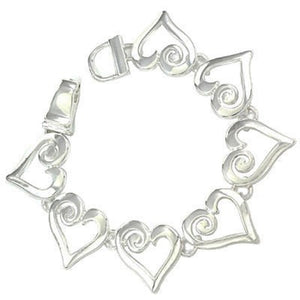 Open Heart Silver Magnetic Bracelet ( 3426 )