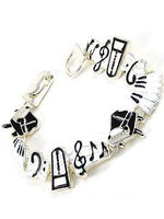 Black and White Music Theme Magnetic Bracelet ( 3443 )