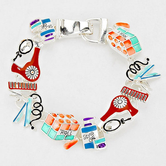Multi Color Hairdresser Theme Magnetic Bracelet
