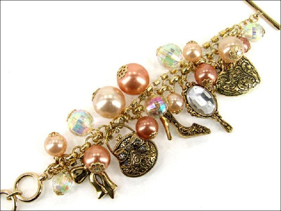 Chunky Peach Pearl, Gold Handbags, and Shoes Charm Bracelet ( 4601 AGPL )