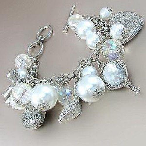 Chunky White Pearl, Handbags, and Shoes Charm Bracelet ( 4601 RHPL )