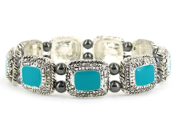 Rectangle Turquoise Enamel and Silver Stretch Bracelet ( 4956 )