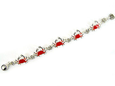 Red Crab Rhinestone Magnetic Bracelet
