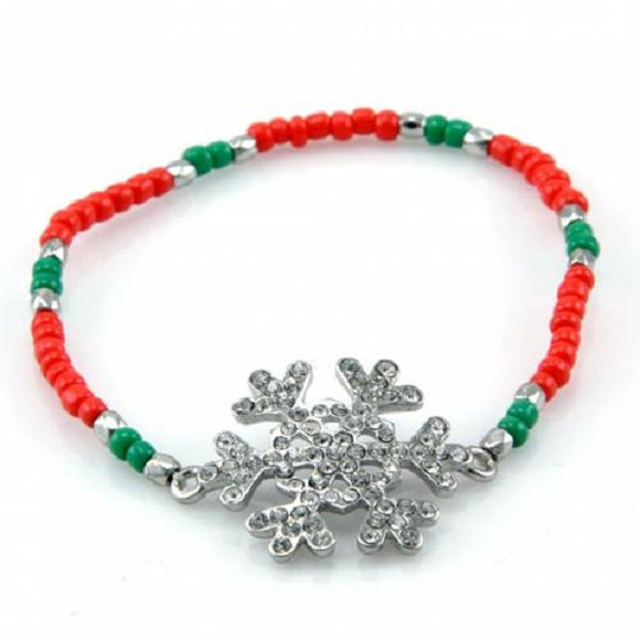 Rhinestone Snowflake and Red and Green Beaded Stretch Bracelet Christmas Holiday ( 6046 )