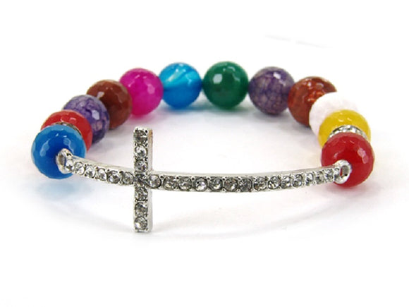 Multi Color Glass Beaded Stretch Bracelet with Rhinestone Cross ( 6080 )