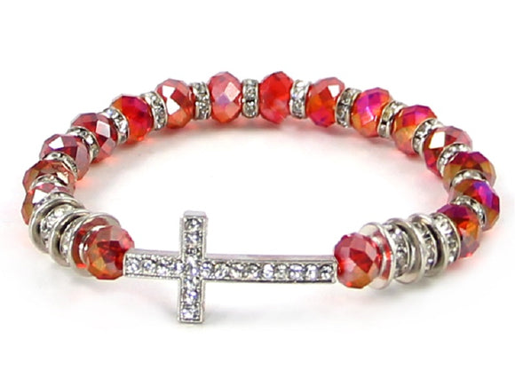 Red AB Facet Crystal Beaded Stretch Bracelet with Silver Rhinestone Cross Charm ( 6514 )
