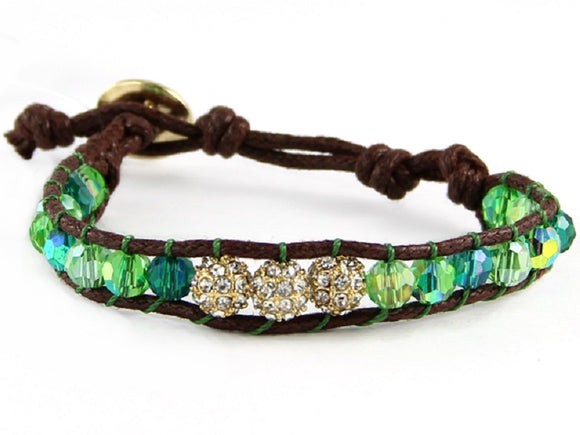 Green Crystal Beaded Leather Bracelet with Gold Pave Ball Charms ( 6545 )