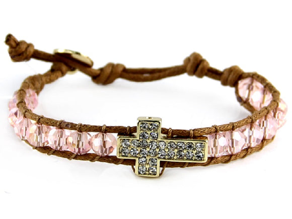 Light Pink Crystal Beaded Tan Leather Bracelet with Gold Pave Cross Charm ( 6546 )