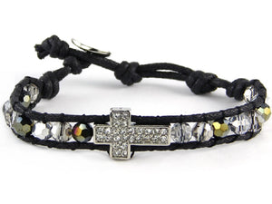 Black Diamond Crystal Beaded Black Leather Bracelet with Silver Pave Cross Charm ( 6546 )