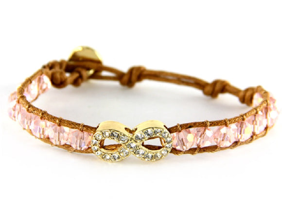 Pink Crystal Beaded Tan Leather Bracelet with Gold Pave Infinity Charm ( 6547 )