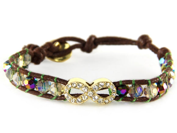 Multi Color Crystal Beaded Dark Brown Leather Bracelet with Gold Pave Infinity Charm ( 6547 )