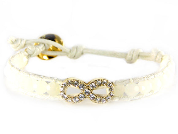 White Crystal Beaded White Leather Bracelet with Gold Pave Infinity Charm ( 6547 )
