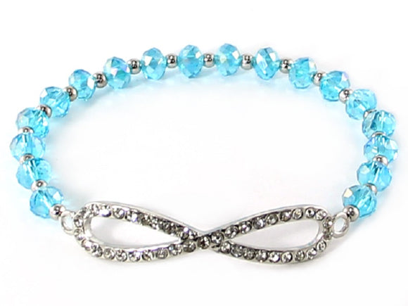 Aqua Blue Facet Crystal Beaded Stretch Bracelet with Silver Rhinestone Infinity Charm ( 6735 )