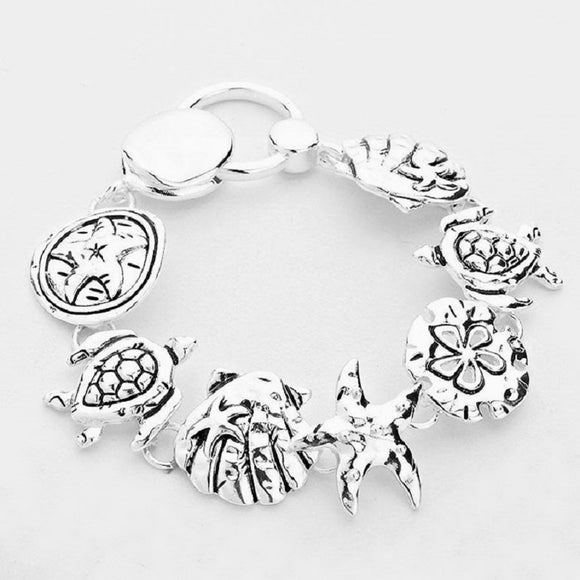 Silver Beach Sea Life Theme Magnetic Bracelet ( 7469 )