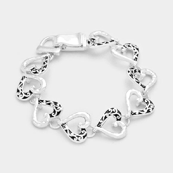 Tailored Design Open Heart Filigree Magnetic Bracelet ( 7634 )