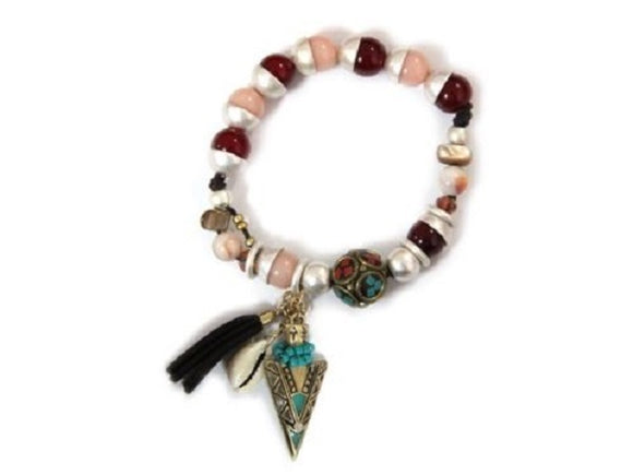 Beaded Stretch Bracelet with Western Arrowhead Charm and Tassel Design ( 7882 )