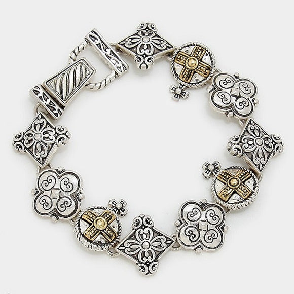 Two Tone Tailor Design Clover and Cross Magnetic Bracelet