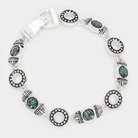 Silver Magnetic Bracelet with Abalone Shell