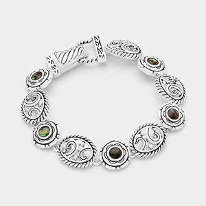 Silver and Abalone Oval and Round Magnetic Bracelet ( 8066 )