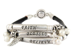 "Silver and White Pearl ""Faith Believe Blessed"" Magnetic Inspirational Bracelet ( 8305 )"