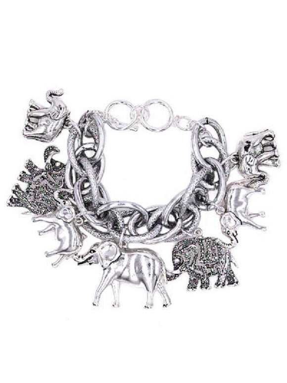 Chunky Silver Elephant Charm Double Linked Toggle Bracelet ( 8410 AS )