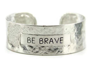 "Silver ""Be Brave"" Message Metal Cuff"