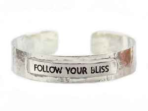 "Silver ""Follow Your Bliss"" Message Metal Cuff"