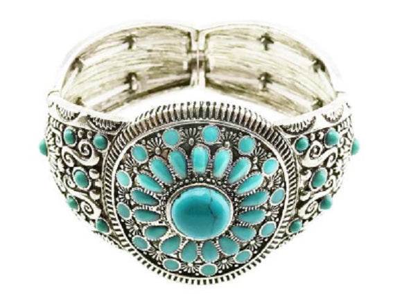 Western Style Turquoise Antique Silver Stretch Bracelet