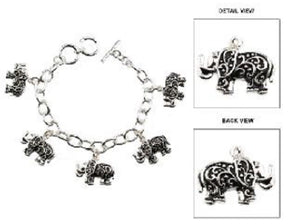 Filigree 3D Elephant Charm Toggle Bracelet