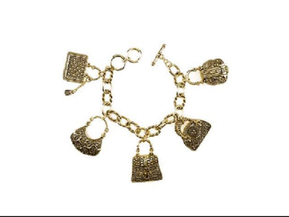 Gold Filigree 2 Sided Handbag Fashion Theme Toggle Charm Bracelet ( 9059 )
