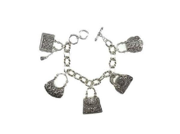 Silver Filigree 2 Sided Handbag Fashion Theme Toggle Charm Bracelet ( 9059 )